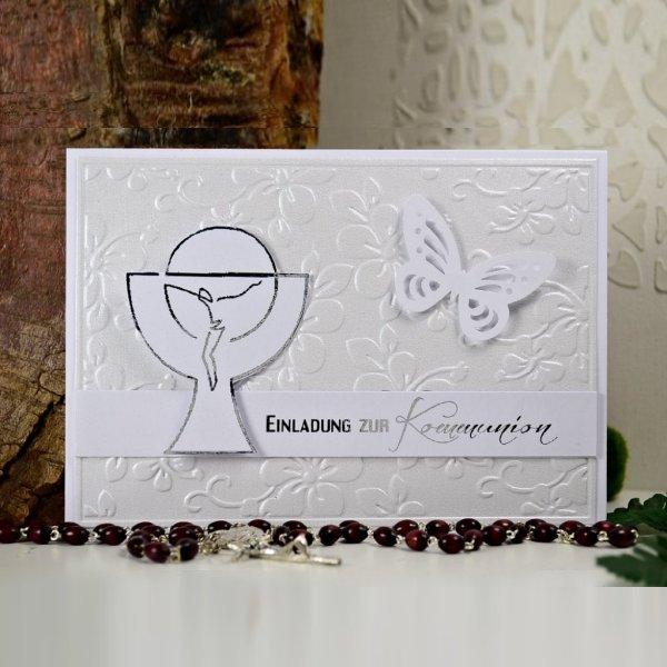 Kommunion Einladungskarte 03w chm