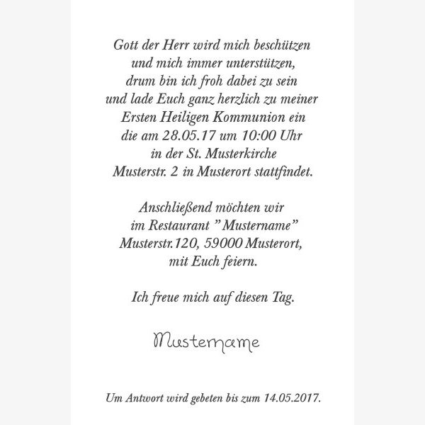 Kommunion Einladungskarte 18e