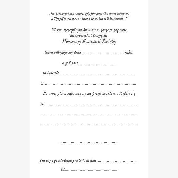 Polnische Einladungskarte-Kommunion 18w