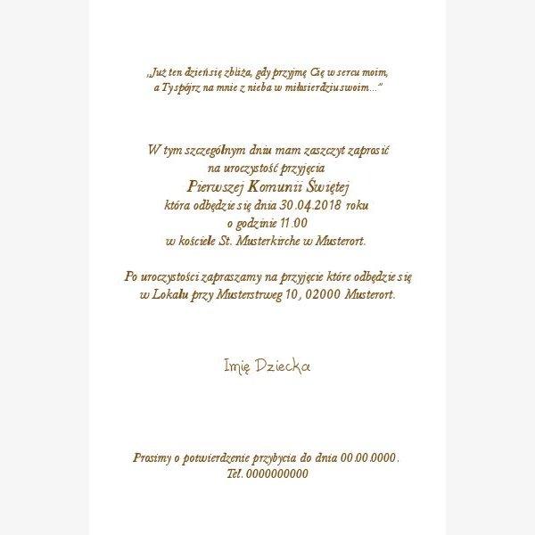 Polnische Einladungskarte-Kommunion 38e