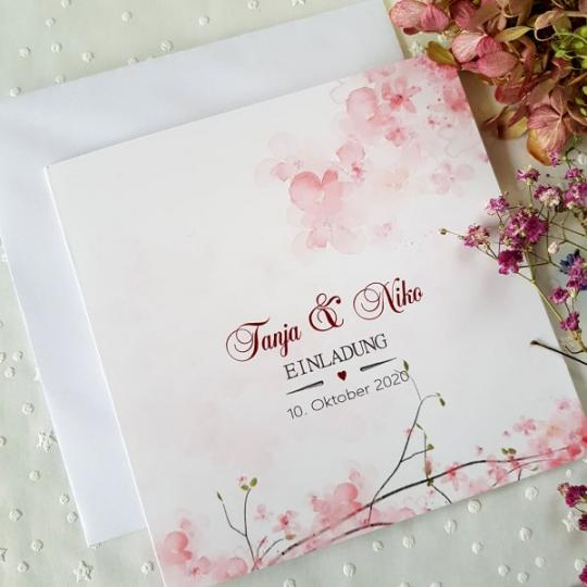 """Hochzeit Einladungskarte """"Rose"""" 01"""